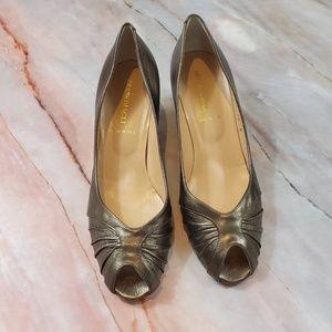 Bruno Magli Peep Toe Kitten Heels Silver 10B